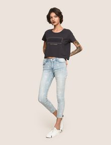ARMANI EXCHANGE CROPPED EMBOSSED SUMMERTIME TEE Non-Logo Tee Woman d
