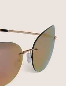 ARMANI EXCHANGE ROSE GOLD MIRROR FRAMELESS CAT-EYE Sunglass Woman e