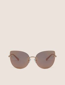 ARMANI EXCHANGE ROSE GOLD MIRROR FRAMELESS CAT-EYE Sunglass Woman r