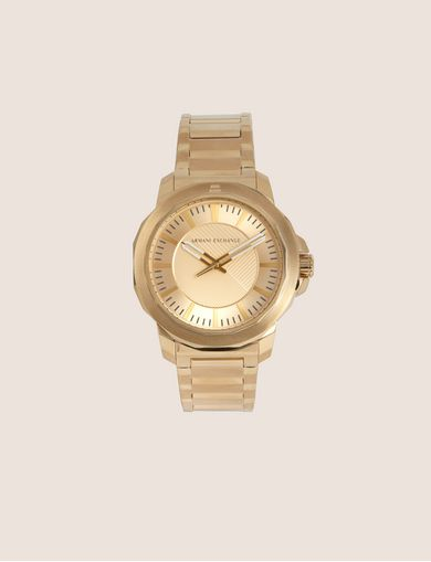FACETED GOLD-TONED BRACELET WATCH