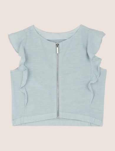 GIRLS LINEN-BLEND RUFFLE SLEEVE TOP