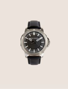 ARMANI EXCHANGE FACETED BLACK LEATHER STRAP WATCH Watch Man f
