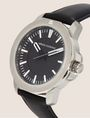 ARMANI EXCHANGE FACETED BLACK LEATHER STRAP WATCH Watch Man r