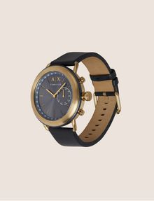 ARMANI EXCHANGE NAVY HYBRID SMARTWATCH WITH LEATHER BAND Hybrid Watch E d