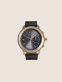 ARMANI EXCHANGE NAVY HYBRID SMARTWATCH WITH LEATHER BAND Hybrid Watch E f