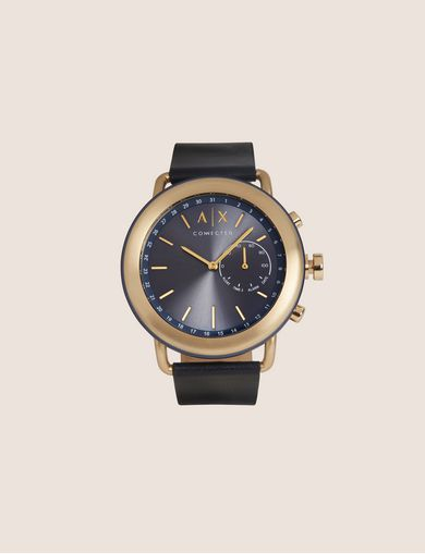 NAVY HYBRID SMARTWATCH WITH LEATHER BAND