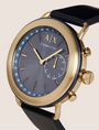 ARMANI EXCHANGE NAVY HYBRID SMARTWATCH WITH LEATHER BAND Hybrid Watch E r