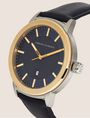 ARMANI EXCHANGE WOODGRAIN CLASSIC LEATHER STRAP WATCH Fashion Watch Man r