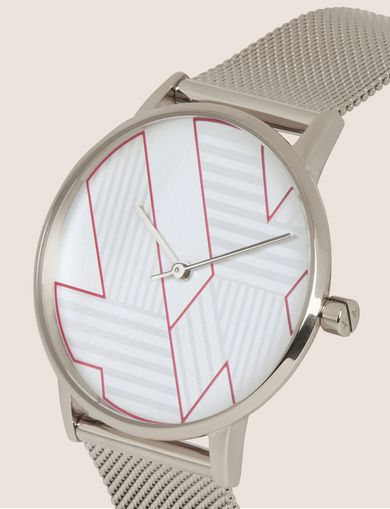 POP ART SILVER-TONE WATCH WITH MESH BAND