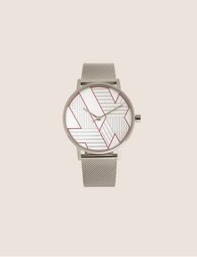 ARMANI EXCHANGE POP ART SILVER-TONE WATCH WITH MESH BAND Watch Woman f