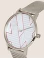 ARMANI EXCHANGE POP ART SILVER-TONE WATCH WITH MESH BAND Watch Woman r