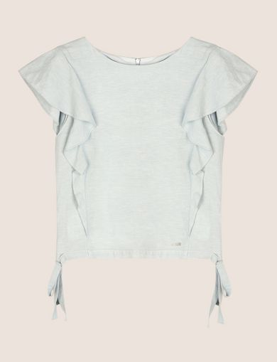 LINEN-BLEND FLUTTER-SLEEVE CROP TOP