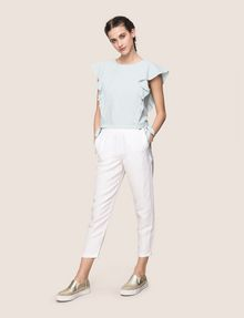 ARMANI EXCHANGE LINEN-BLEND FLUTTER-SLEEVE CROP TOP S/L Knit Top Woman d