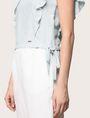 ARMANI EXCHANGE LINEN-BLEND FLUTTER-SLEEVE CROP TOP S/L Knit Top Woman b