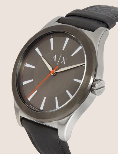 GREY LEATHER MINIMALIST WATCH