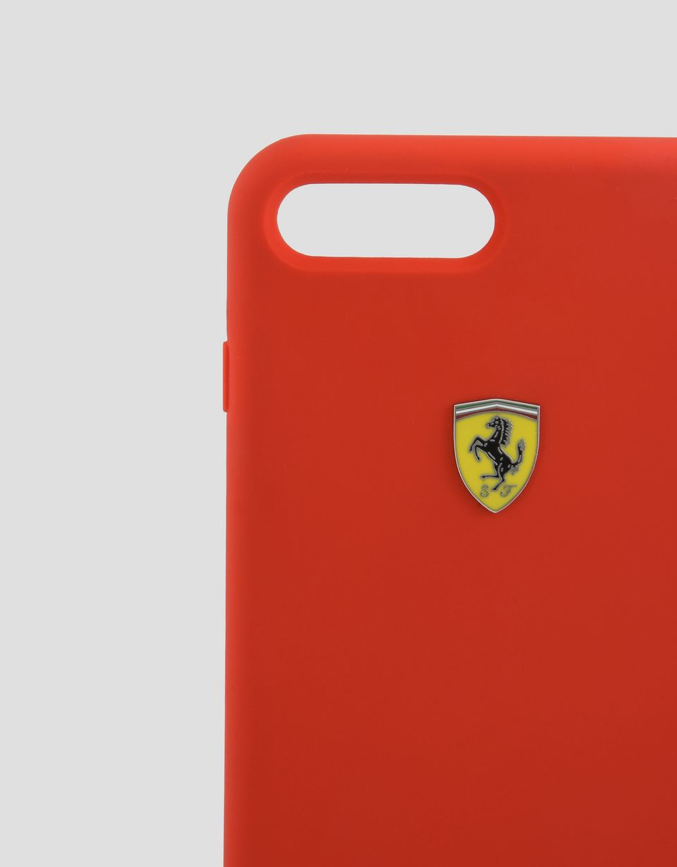 Scuderia Ferrari Online Store - Cover rigida rossa in silicone per iPhone 7 Plus e 8 Plus - Cover&Other Small Leather Good