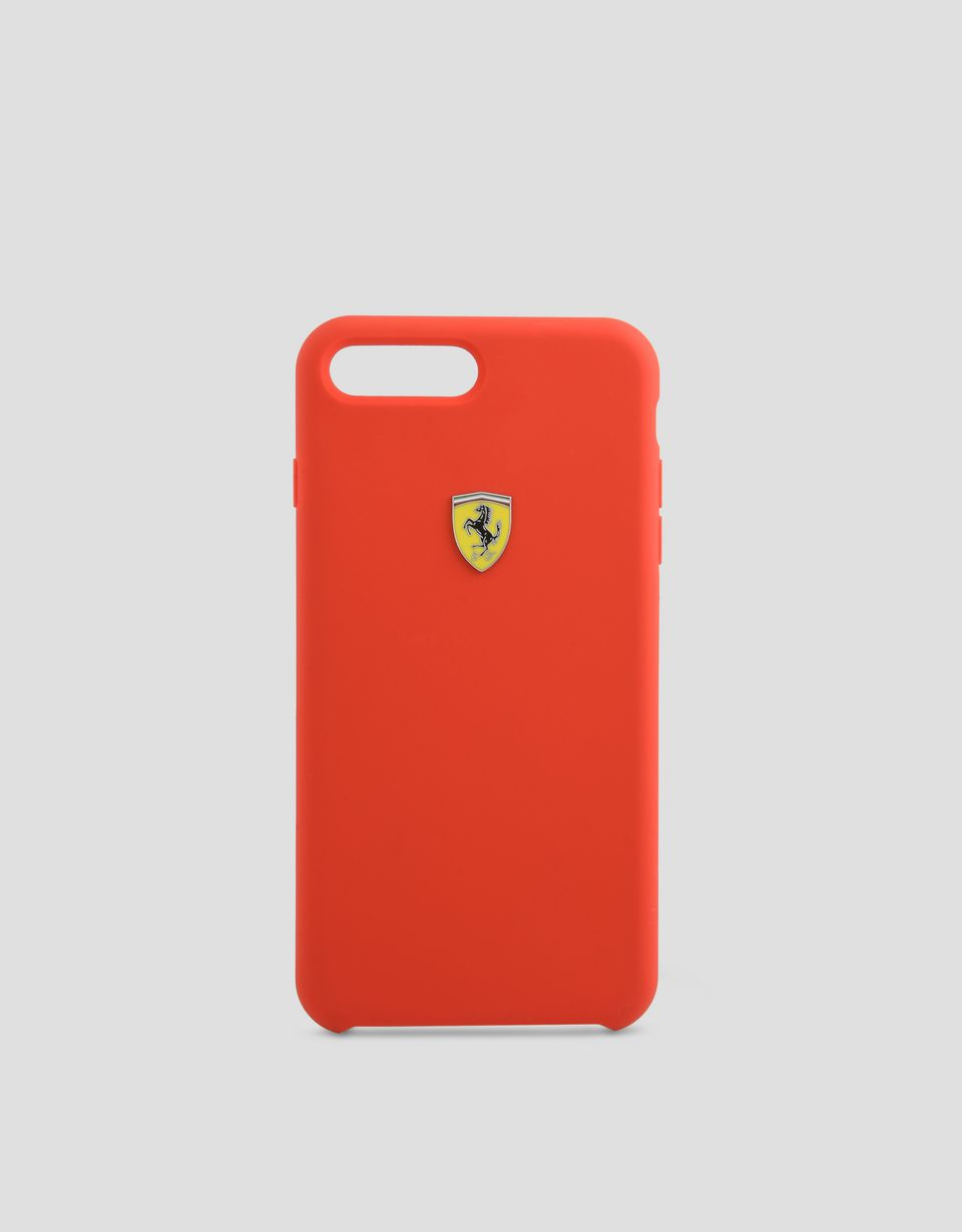 Scuderia Ferrari Online Store - Red silicone hard case for iPhone 7 Plus and 8 Plus - Cover&Other Small Leather Good