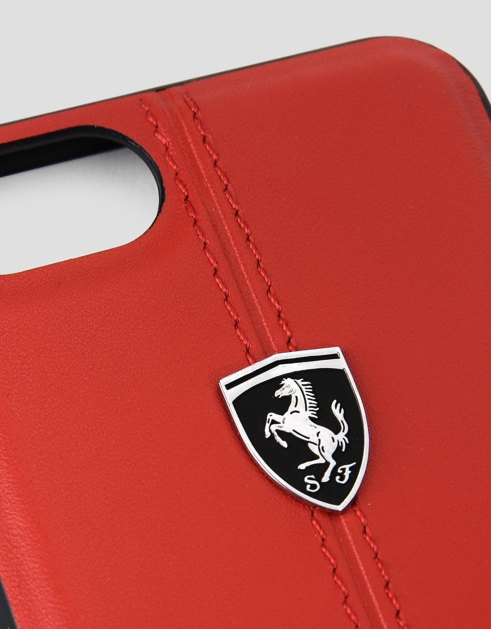 Scuderia Ferrari Online Store - Cover in pelle rossa per iPhone 8 - Cover&Other Small Leather Good