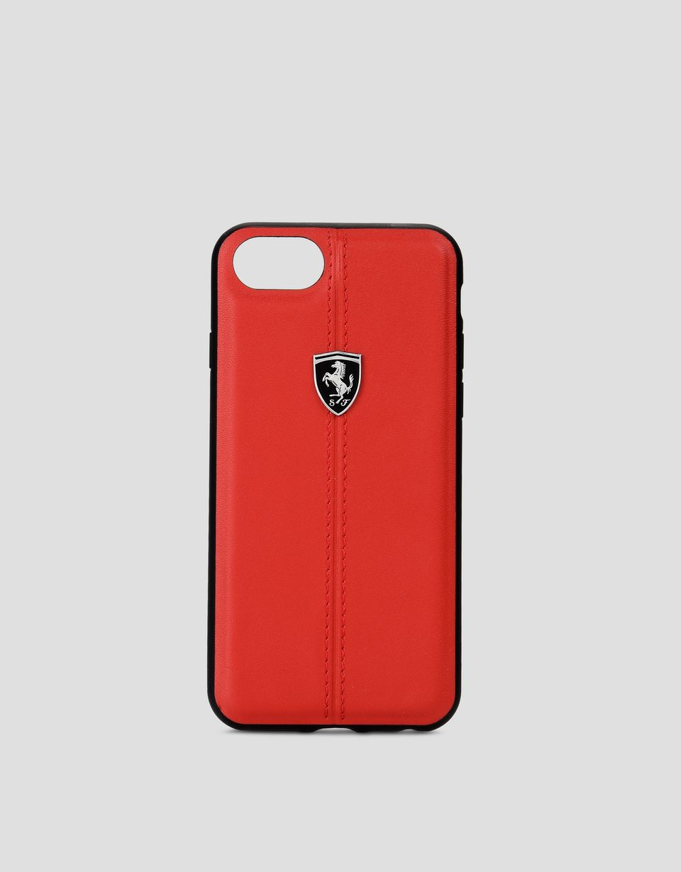 Scuderia Ferrari Online Store - Red leather hard case for iPhone 8 - Cover&Other Small Leather Good