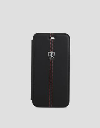 Scuderia Ferrari Online Store - iPhone 7 Plus 和 8 Plus 黑色皮革翻盖手机壳 - Cover&Other Small Leather Good