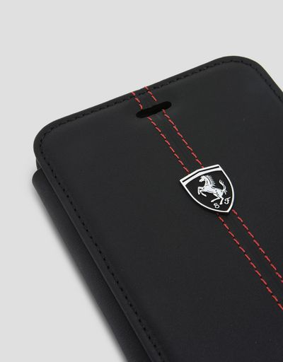 Scuderia Ferrari Online Store - Cover a libro in pelle nera per iPhone 7 Plus e 8 Plus - Cover&Other Small Leather Good