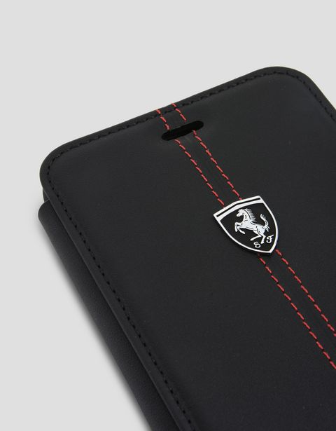 Scuderia Ferrari Online Store - iPhone 7 Plus 和 iPhone 8 Plus 黑色皮革翻盖手机壳 - Cover&Other Small Leather Good