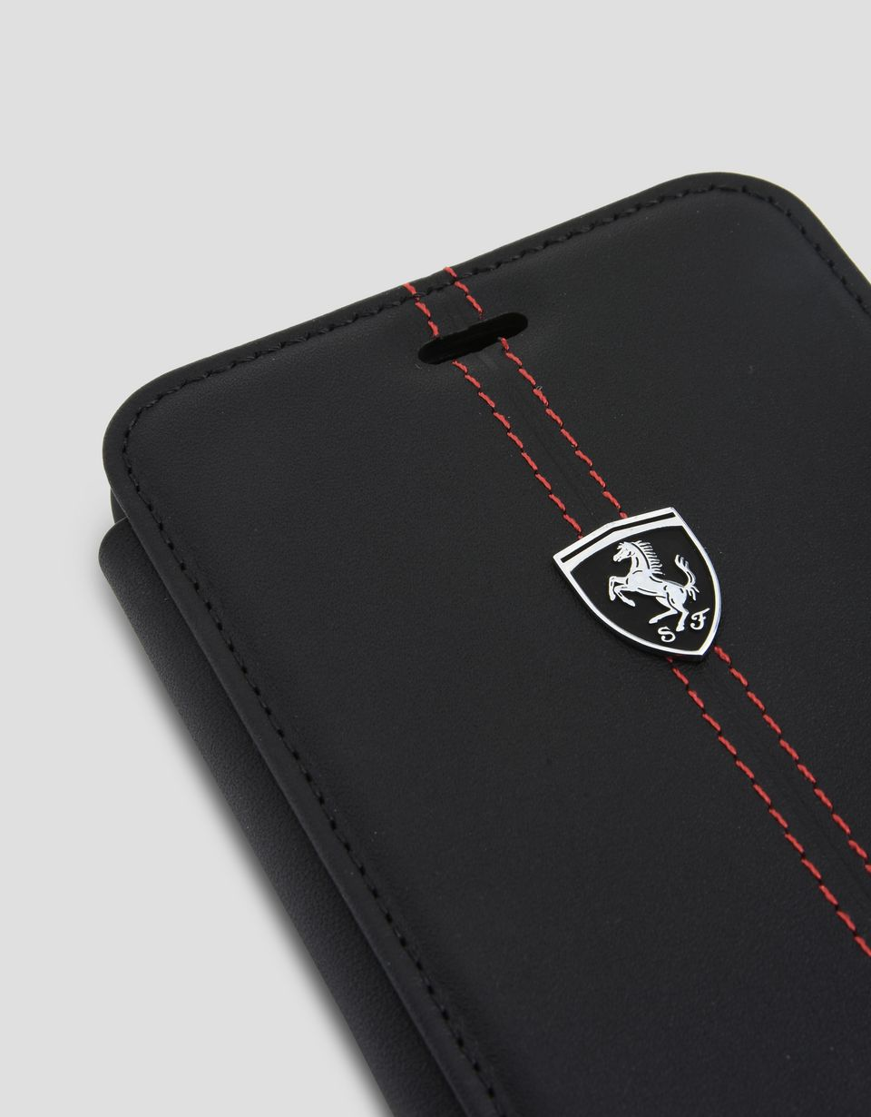 Scuderia Ferrari Online Store - Black leather flip case for iPhone 7 Plus and 8 Plus - Cover&Other Small Leather Good