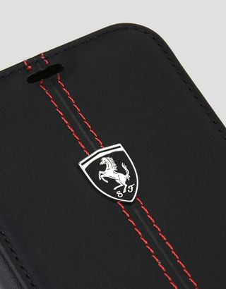 Scuderia Ferrari Online Store - Black leather bi-fold case for iPhone X - Cover&Other Small Leather Good