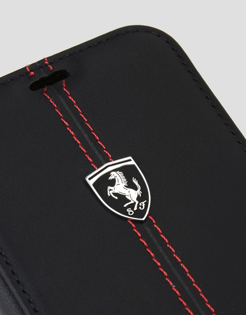 Scuderia Ferrari Online Store - Buchcover-Etui aus schwarzem Leder für iPhone X - Cover&Other Small Leather Good