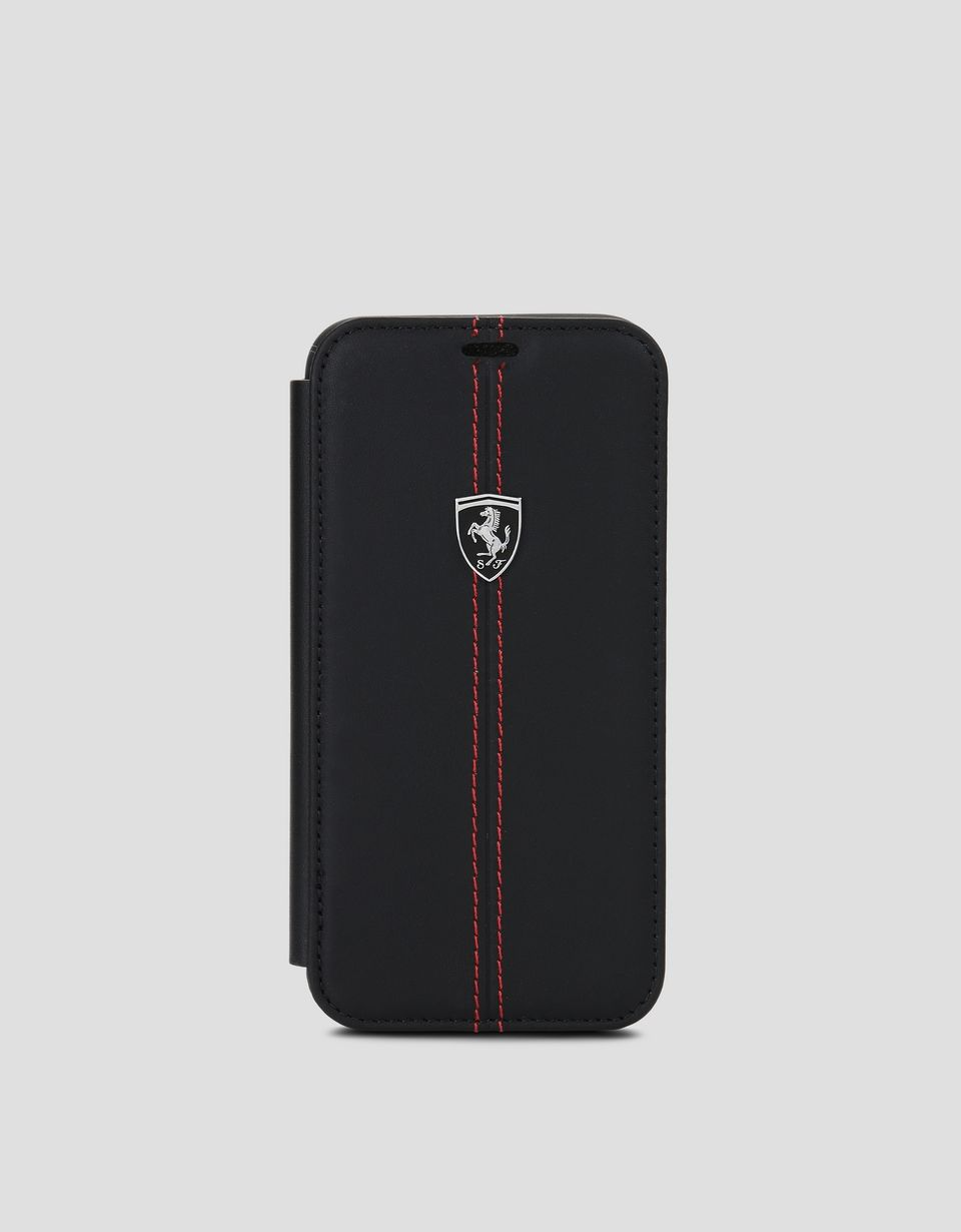 Scuderia Ferrari Online Store - Coque à rabat en cuir noir pour iPhone X - Cover&Other Small Leather Good