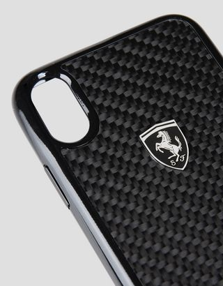 Scuderia Ferrari Online Store - Cover in vera fibra di carbonio nera per iPhone X - Cover&Other Small Leather Good