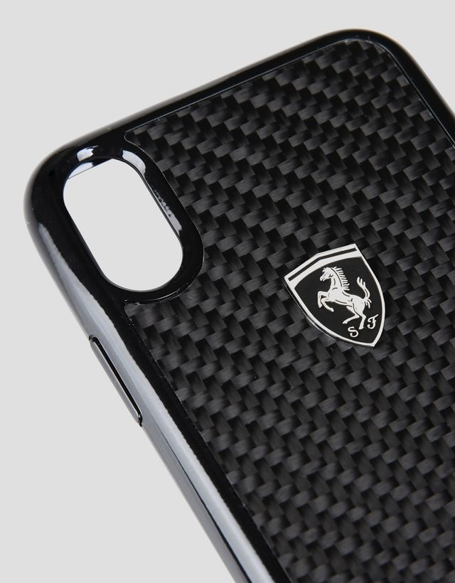 Scuderia Ferrari Online Store - Black carbon fibre case for iPhone X - Cover&Other Small Leather Good
