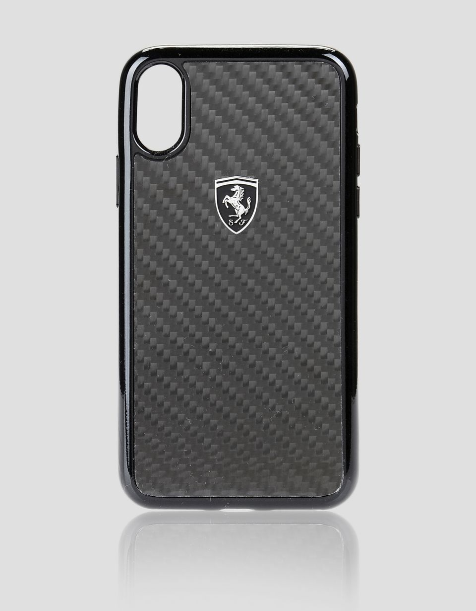 Scuderia Ferrari Online Store - Чёрный чехол из настоящего углеродного волокна для iPhone X - Cover&Other Small Leather Good