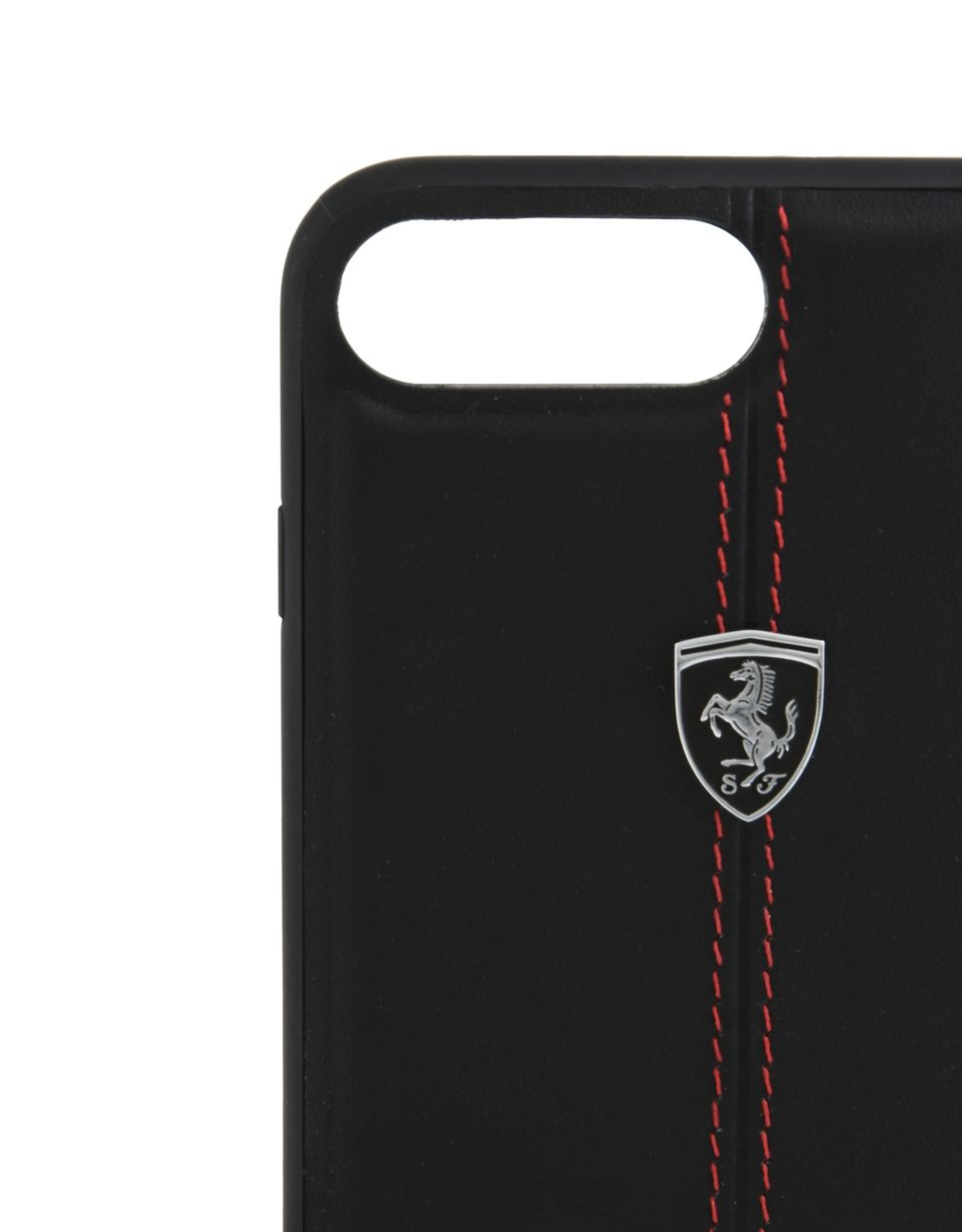 Scuderia Ferrari Online Store - Cover aus schwarzem Leder für iPhone 7 Plus und iPhone 8 Plus - Cover&Other Small Leather Good