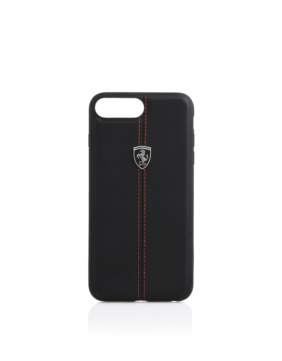 Scuderia Ferrari Online Store - Black leather case for iPhone 7 Plus and iPhone 8 Plus - Cover&Other Small Leather Good
