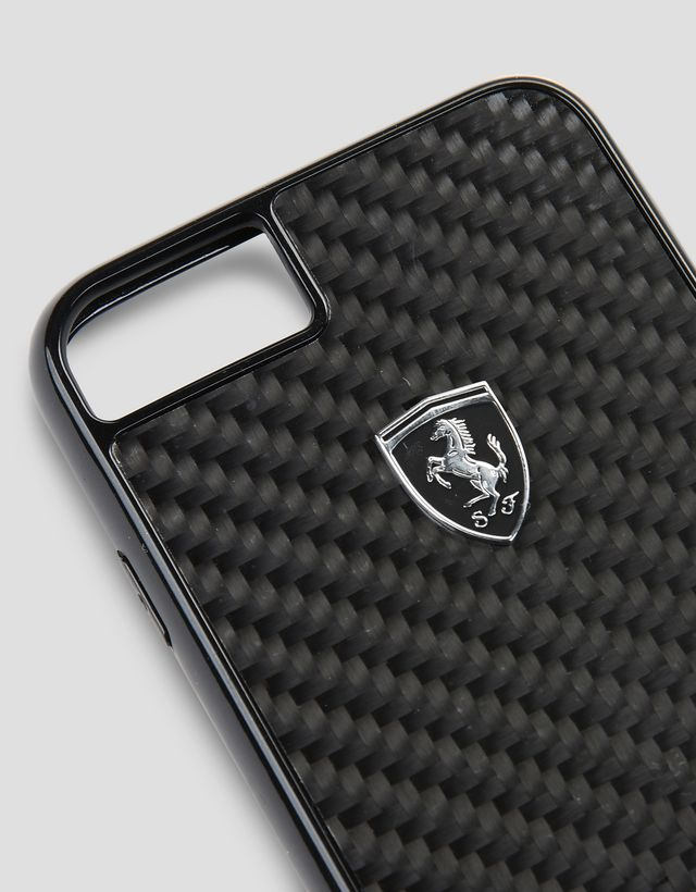 Scuderia Ferrari Online Store - iPhone 8 黑色碳纤维手机壳 - Cover&Other Small Leather Good