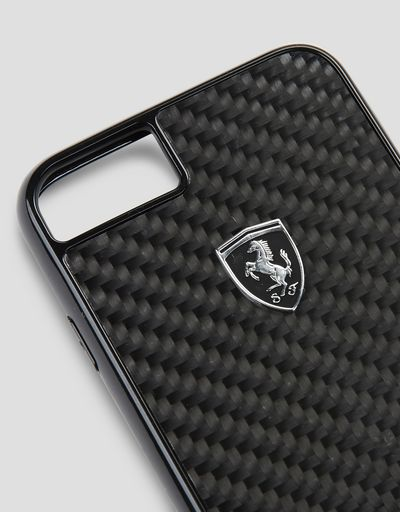 Scuderia Ferrari Online Store - Black carbon fiber case for the iPhone 8 - Cover&Other Small Leather Good