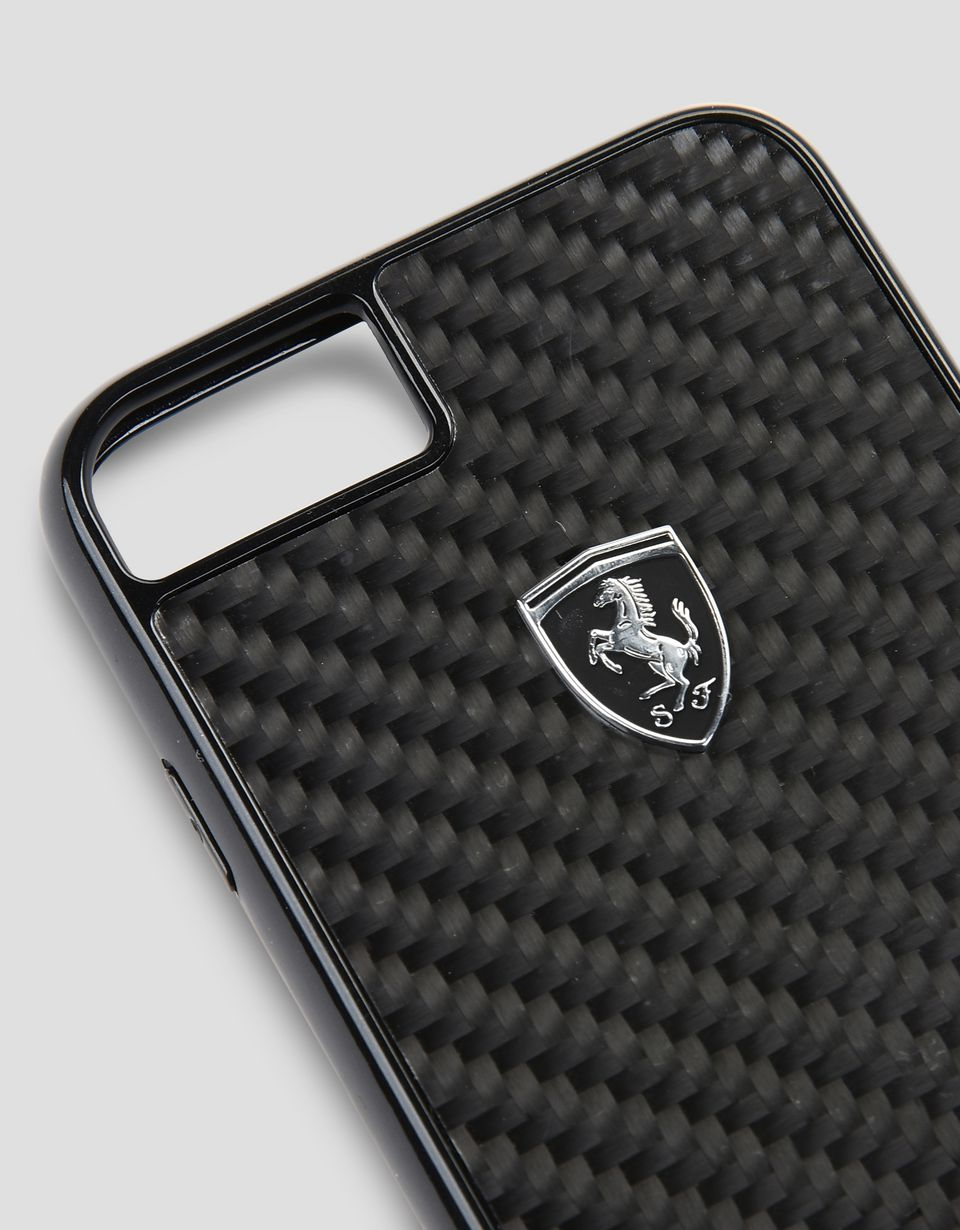 Scuderia Ferrari Online Store - Black carbon fiber case for iPhone 8 - Cover&Other Small Leather Good