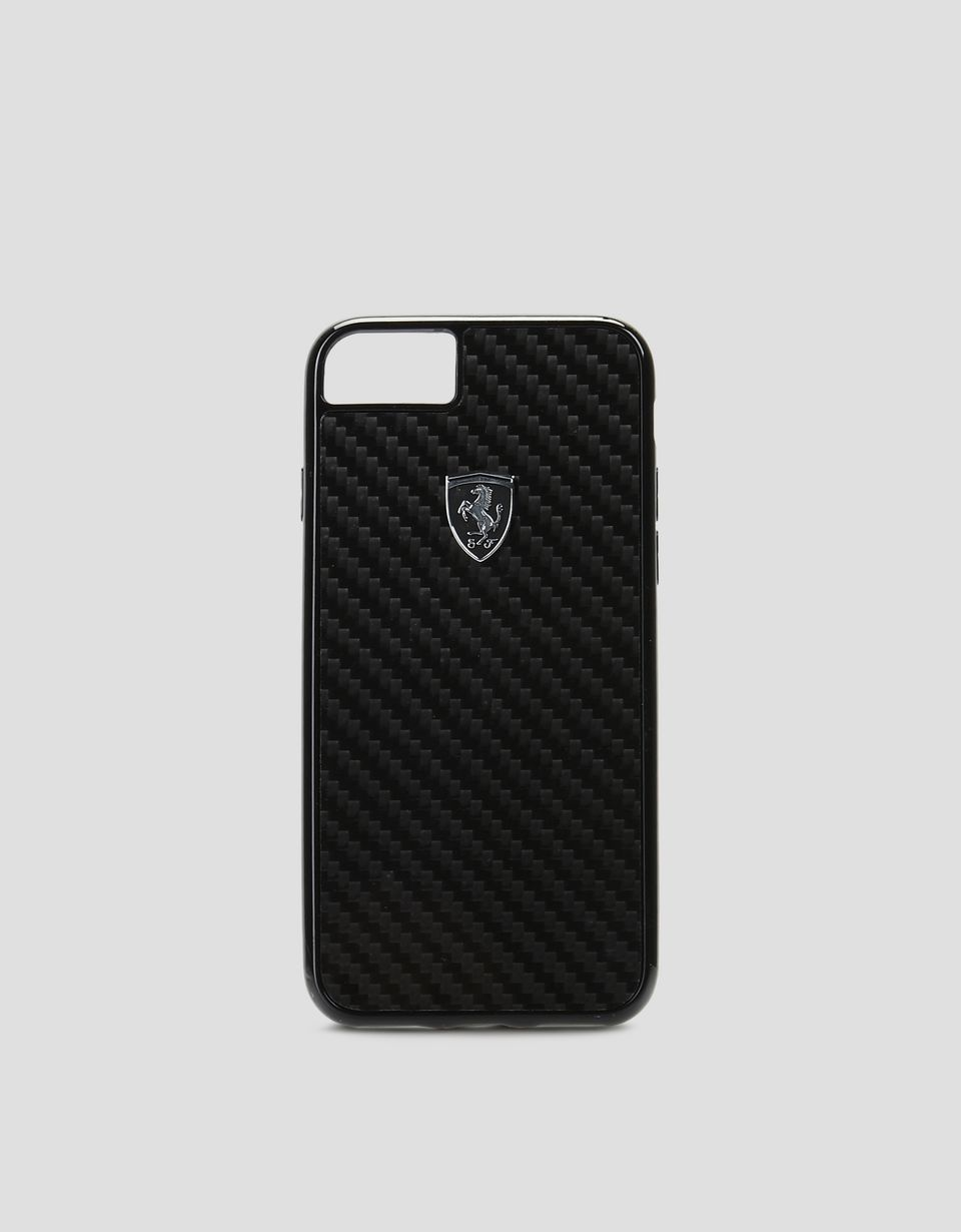 Scuderia Ferrari Online Store - Cover aus echter schwarzer Carbonfaser für iPhone 8 - Cover&Other Small Leather Good