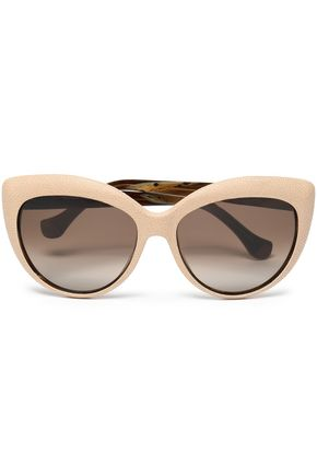 BALENCIAGA Cat-eye pebbled-leather and acetate sunglasses