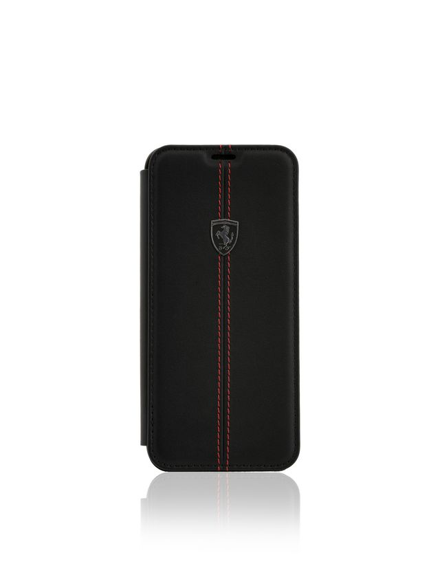Scuderia Ferrari Online Store - Cover a libro in pelle nera per Galaxy 8 Plus - Cover&Other Small Leather Good