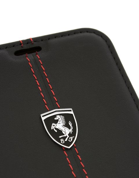 Scuderia Ferrari Online Store - Bifold-Cover aus schwarzem Leder für das Galaxy 8 Plus - Cover&Other Small Leather Good
