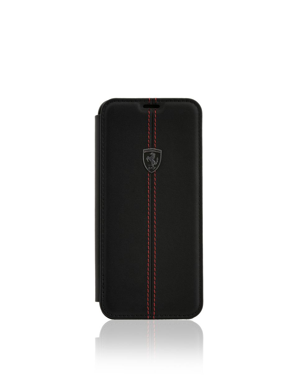 Scuderia Ferrari Online Store - Black leather bi-fold case for Galaxy 8 Plus -