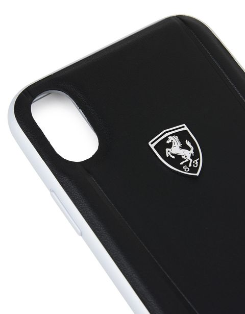 Scuderia Ferrari Online Store - Black leather and aluminum case for iPhone X - Cover&Other Small Leather Good