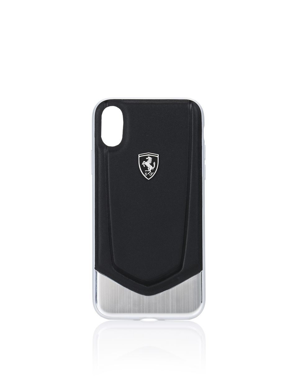 Scuderia Ferrari Online Store - Cover für iPhone X aus schwarzem Leder und Aluminium - Cover&Other Small Leather Good