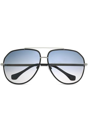 BALENCIAGA Aviator-style acetate and silver-tone sunglasses