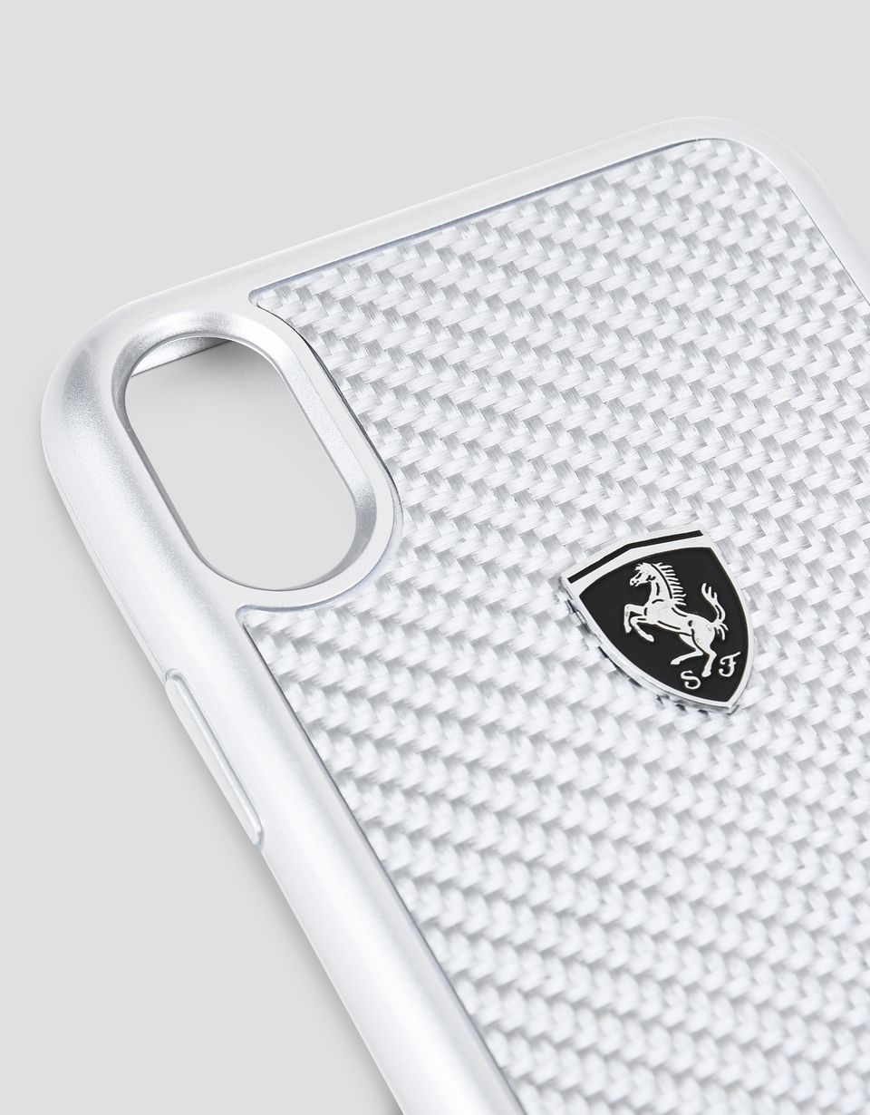 Scuderia Ferrari Online Store - Cover in vera fibra di carbonio silver per iPhone X - Cover&Other Small Leather Good