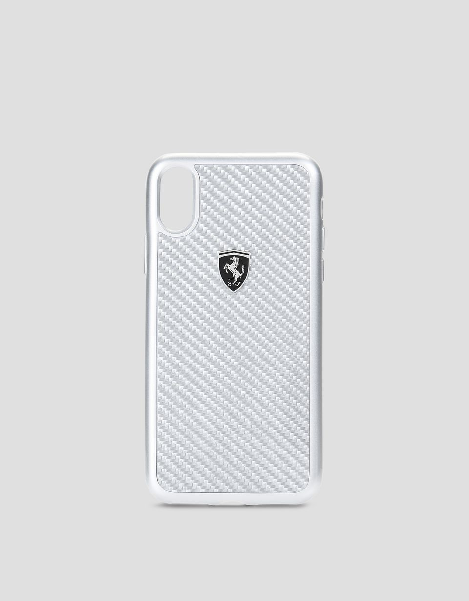 Scuderia Ferrari Online Store - Coque en fibre de carbone véritable couleur argent pour iPhone X - Cover&Other Small Leather Good