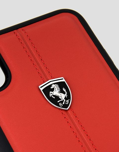 Scuderia Ferrari Online Store - Red leather case for iPhone X - Cover&Other Small Leather Good