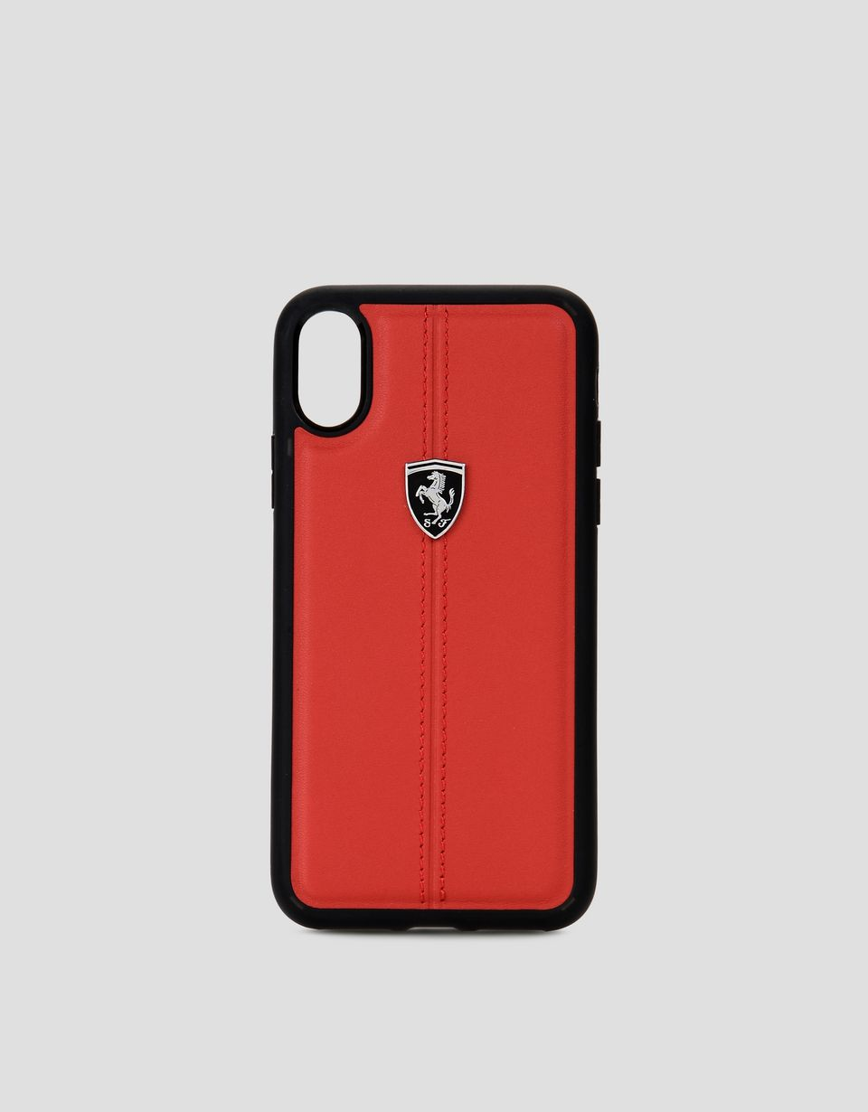 Scuderia Ferrari Online Store - Red rigid leather case for the iPhone X - Cover&Other Small Leather Good